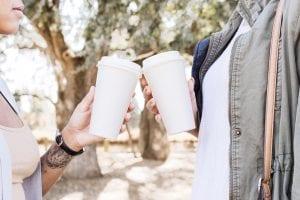 two friends drinking coffee