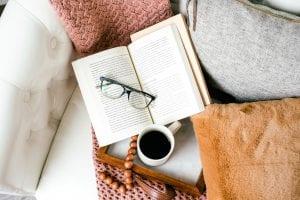 coffee, book, reading glass