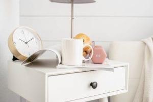 Coffee, bagel, weight, clock