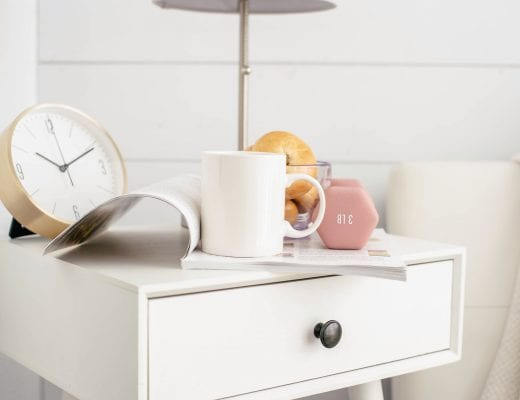 Coffee, bagel, weight, clock