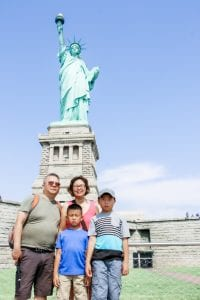 Family at the Statue of Liberty